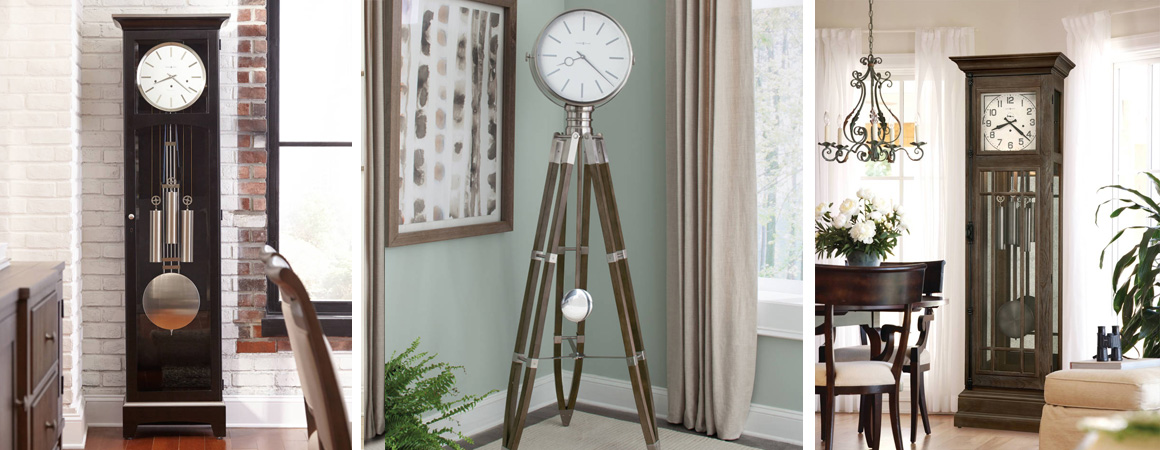 Howard Miller Grandfather Clocks - modern and transitional clocks in natural light in living rooms