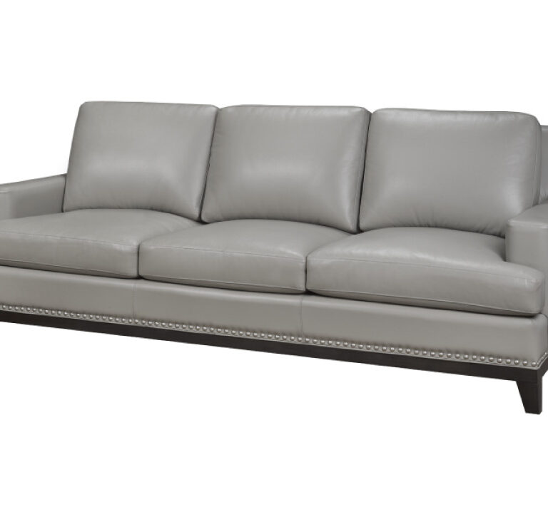Leesburg Sofa by LeatherCraft - chic grey leather sofa with minimalist arms, semi-attached back cushions, and a dark wooden base