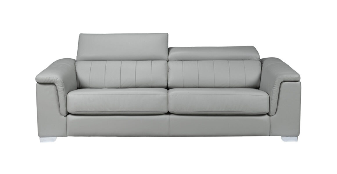 New York Sofa by LeatherCraft - modern two-seater sofa with adjustable headrests and channel tufting on the back; covered in light grey leather; rolled square arms