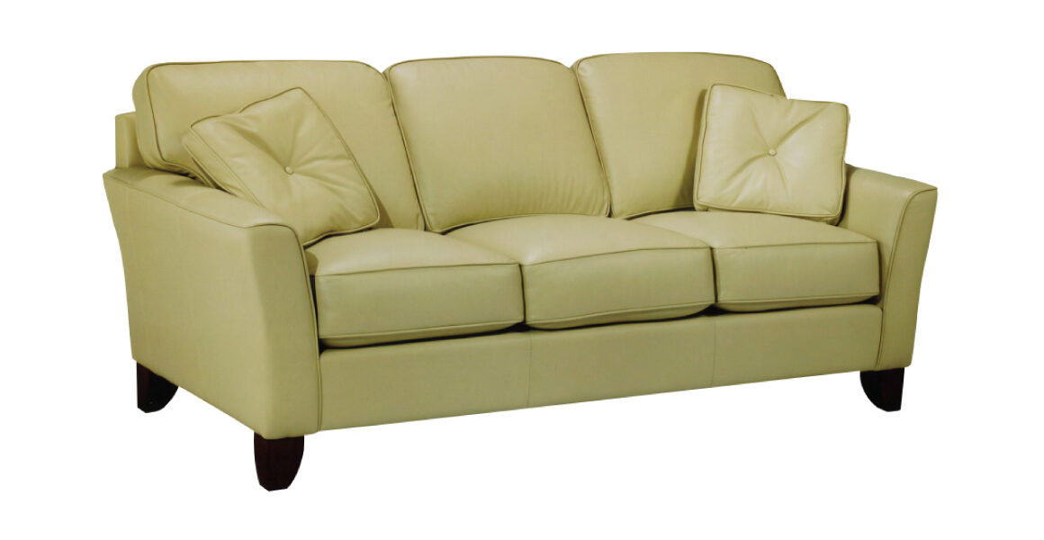Niagara Sofa by LeatherCraft - contemporary sofa covered in green leather with 2 matching throw pillows; dark wooden legs and modern tuxedo arms