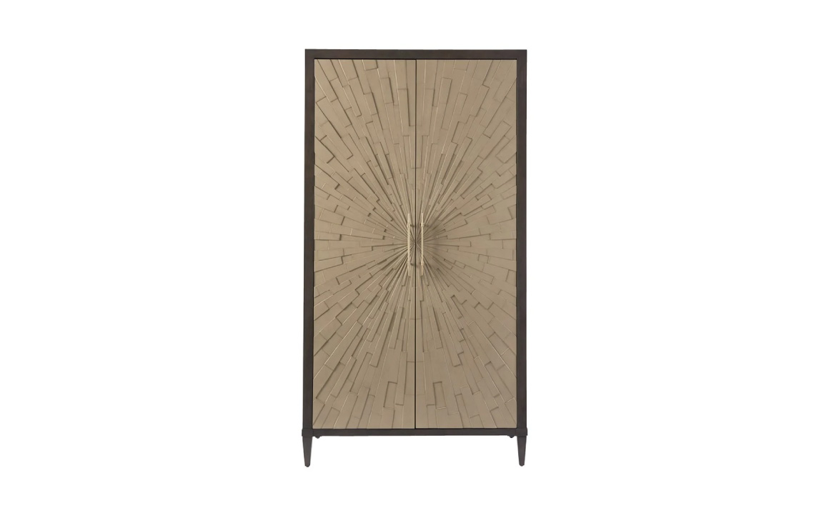 788165 Soliloquy Armoire - Universal Furniture - modern sunburst-style double-door armoire finished in Cocoa and Chanel