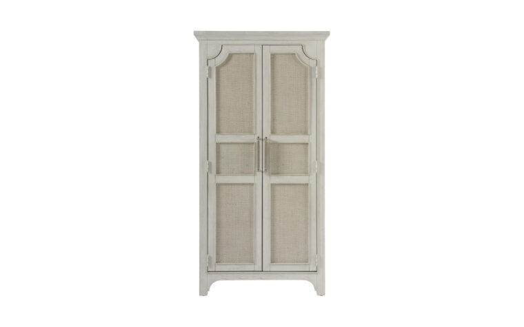 833160 Narrow Coastal Utility Cabinet - sandbar finish on armoire with two doors decorated with raffia inserts