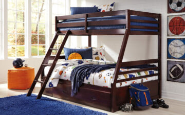 B328-58P Halanton Bunk Bed - dark brown wood finish on twin-over-full bunk bed with slanted ladder and under-bed storage drawer; blue and orange kid's bedroom decor