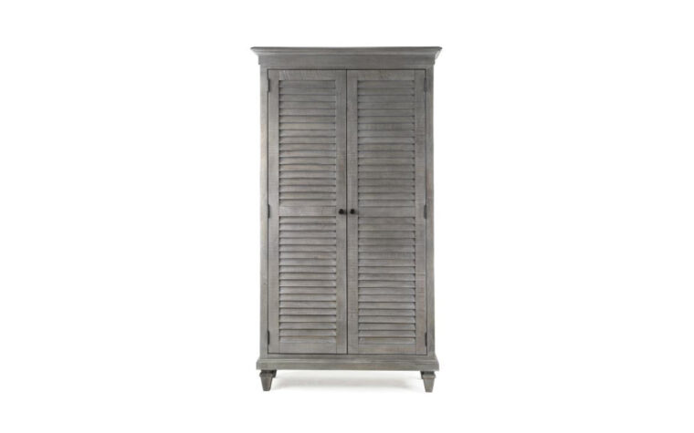 B4352-34 Lancaster Wardrobe - tall wardrobe with 2 louvered doors finished in Dovetail Grey and accented by Weathered Bronze pulls