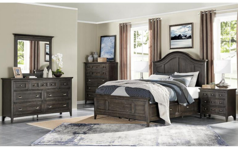 B4399 Westley Falls Bedroom Collection - industrial bedroom furniture finished in near-black Graphite with matching Aged Pewter hardware, in room with tones of taupe, brown, and white and simple decor