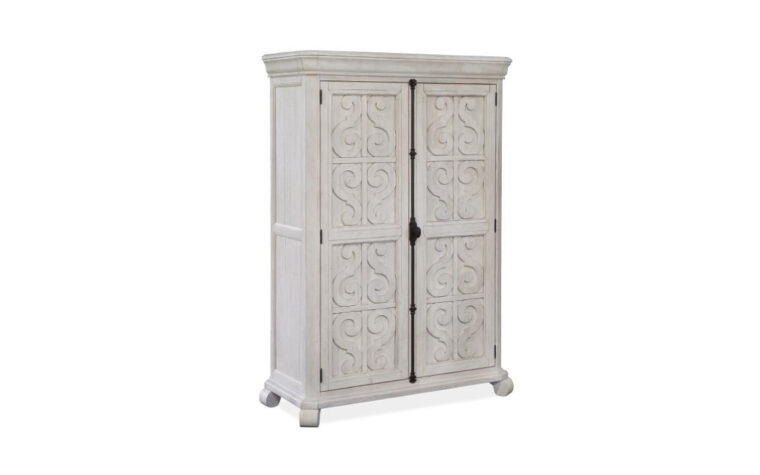 B4436-13 Bronwyn Door Chest - Alabaster finish accented by Antique Brass hardware on 2-door armoire-height chest with traditional carvings and curved details