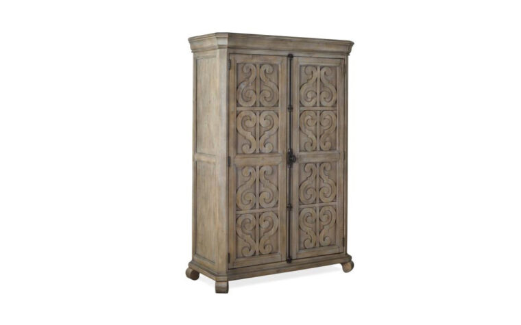 B4646-13 Tinley Park Door Chest - Dove Tail Grey finish accented by Weathered Bronze hardware on 2-door armoire-height chest with traditional carvings and curved details