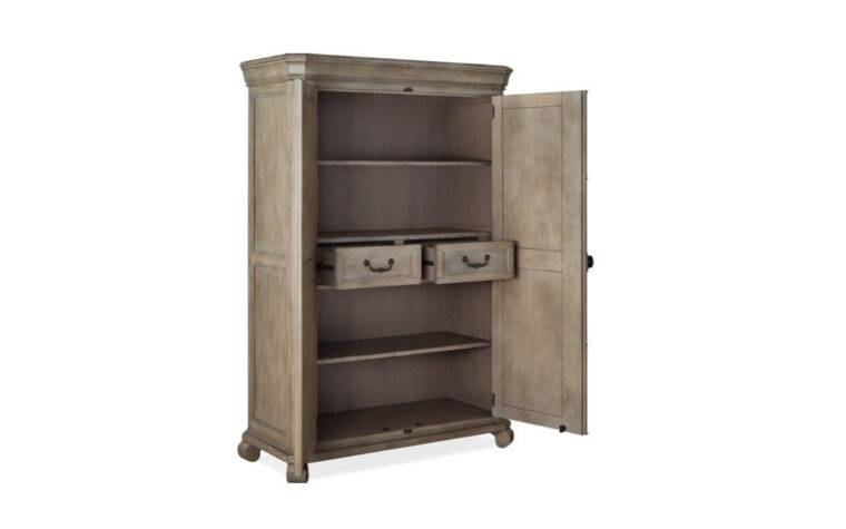 B4646-13 Tinley Park Door Chest - Dove Tail Grey finish accented by Weathered Bronze hardware on 2-door armoire-height chest with traditional carvings and curved details; doors and drawers open and 2 adjustable shelves revealed
