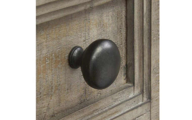 B4805-13 Paxton Place Door Chest - Dovetail Gray finish on transitional door chest accented with Weathered Bronze hardware (close-up on hardware here)