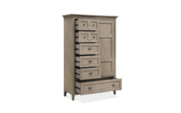 B4805-13 Paxton Place Door Chest - Dovetail Gray finish on transitional door chest with 6 drawers and a sliding paneled door, accented with Weathered Bronze hardware (drawers open)