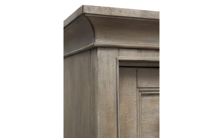 B4805-13 Paxton Place Door Chest - Dovetail Gray finish on transitional door chest; elegant crown moulding and stepped shaker pattern in wood frame and door detail