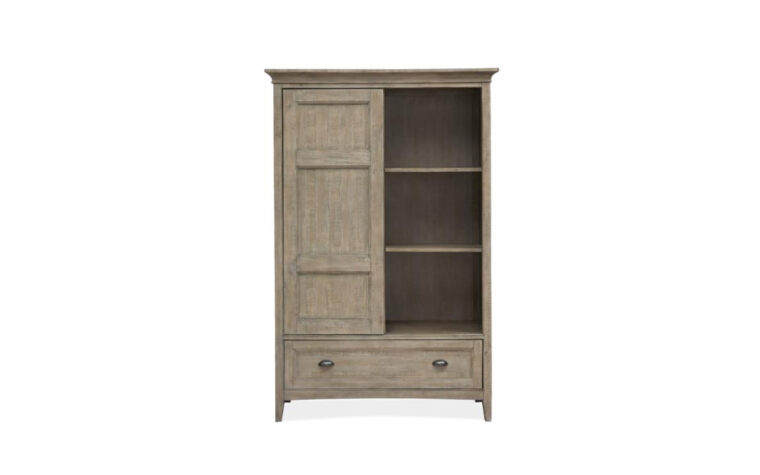 B4805-13 Paxton Place Door Chest - Dovetail Gray finish on transitional door chest with 2 adjustable shelves revealed behind a sliding paneled door, accented with Weathered Bronze hardware