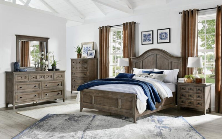 B4805 Paxton Place Bedroom Collection - Universal Furniture - Dovetail Gray finish on transitional bedroom furniture accented with Weathered Bronze hardware in off-white room with a gray area rug