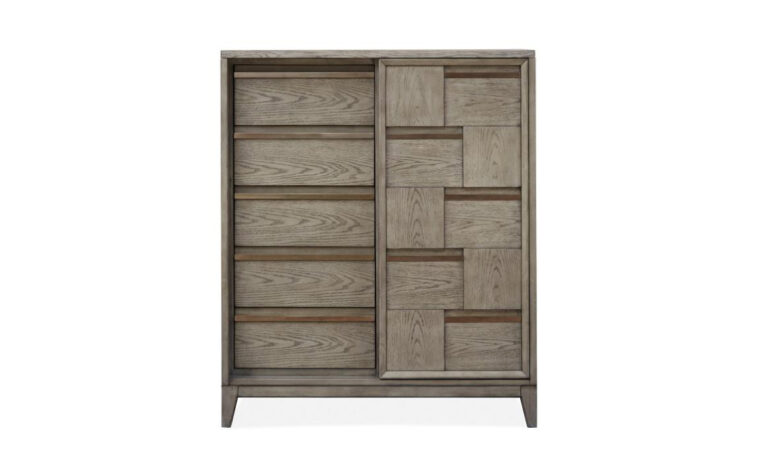 B4877-13 Atelier Sliding Door Chest - 5 drawers and sliding door come together in geometric, modern door chest finished in Nouveau Grey finish punctuated by Palladium metal accents