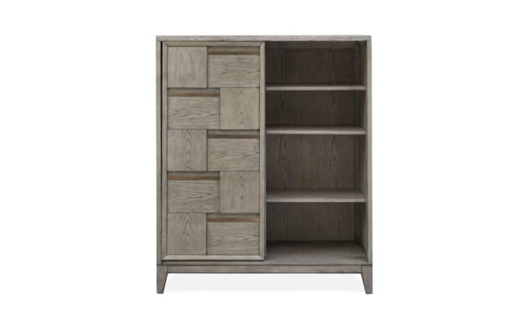 B4877-13 Atelier Sliding Door Chest - 3 shelves and sliding door come together in geometric, modern door chest finished in Nouveau Grey finish punctuated by Palladium metal accents