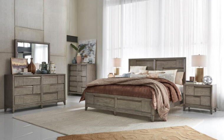B4877 Atelier Bedroom Collection - Universal Furniture - Nouveau Grey finish punctuated by Palladium metal accents in modern bedroom with almost wall-to-wall windows behind bed, and tan area rug under bed with burgundy bedding