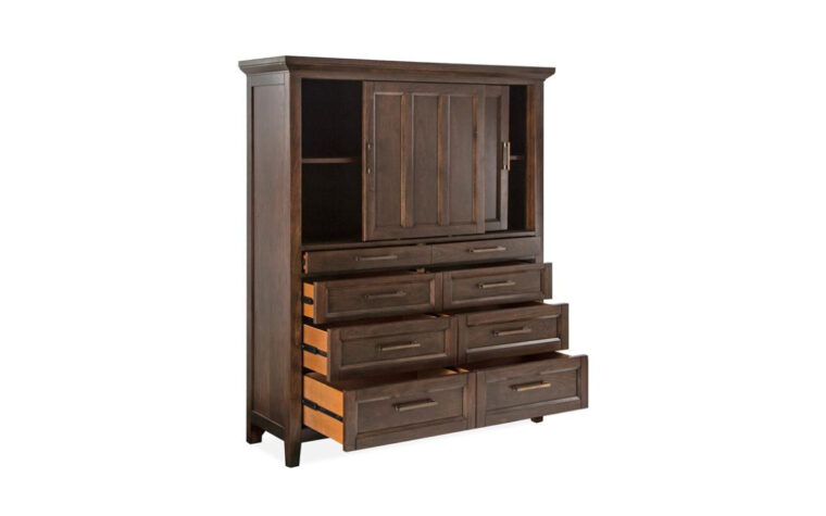 B4993-13 Hamlin Park Sliding Door Chest - 2 sliding paneled doors on upper half and 6 drawers on lower half; all finished in warm Russet tone with coordinated Antique Bronze hardware (all doors and drawers open)