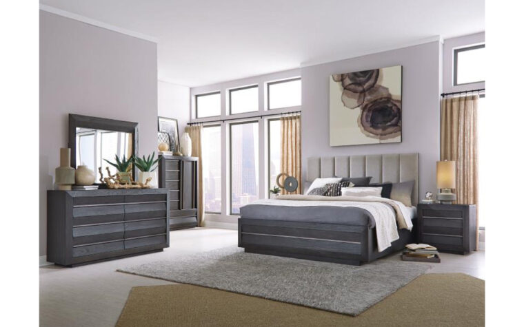 B4995 Wentworth Village Bedroom Collection - Universal Furniture - Sandblasted Oxford Black finish accented with Bronze hardware stands out beautifully as rich, modern furniture in a cool, inviting bedroom