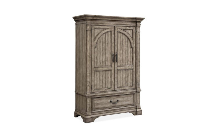 B5006-30 Milford Creek Armoire - Universal Furniture - aged pewter hardware and Lark Brown finish on farmhouse-style 2-door armoire with tasteful arched accents