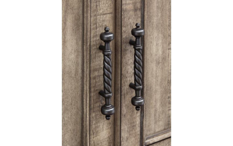 B5006-30 Milford Creek Armoire - Universal Furniture - aged pewter hardware and Lark Brown finish on farmhouse-style 2-door armoire - emphasis on intricate, traditional spiraled door pulls
