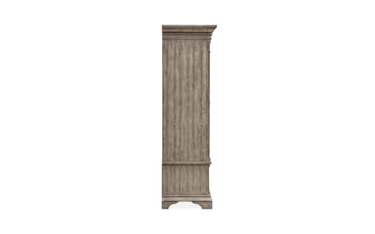 B5006-30 Milford Creek Armoire - Universal Furniture - aged pewter hardware and Lark Brown finish on farmhouse-style 2-door armoire - side view highlighting feet and crown moulding