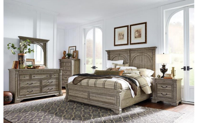 B5006 Millford Creek Bedroom Collection - Universal Furniture - aged pewter hardware and Lark Brown finish on farmhouse-style bedroom collection with tasteful arched accents