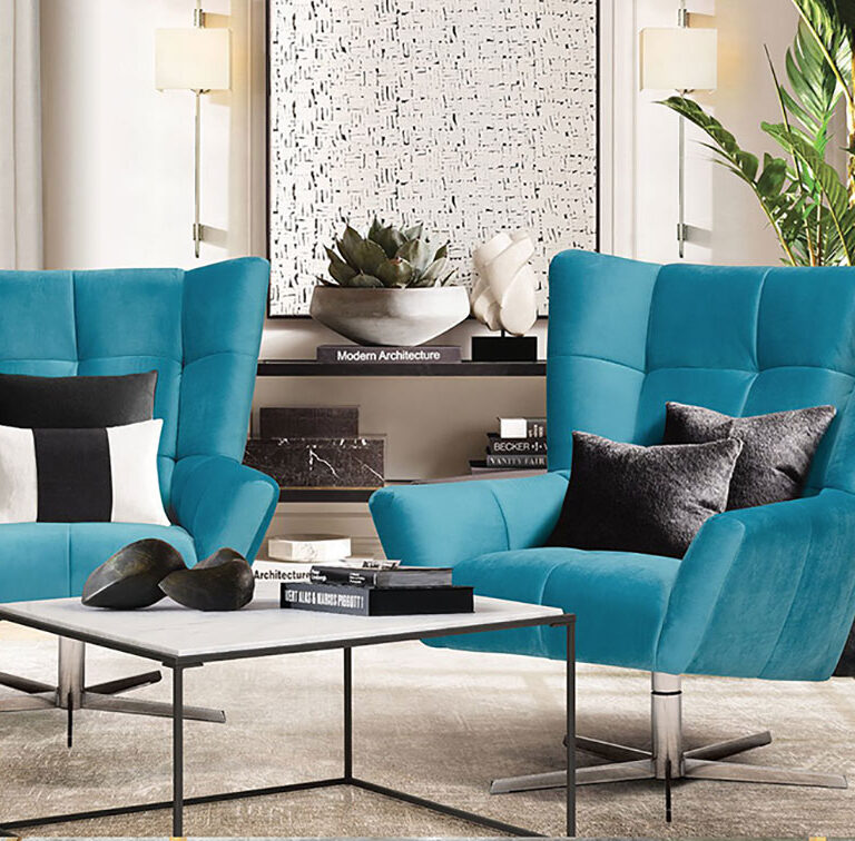 blue swivel chairs in a modern living room