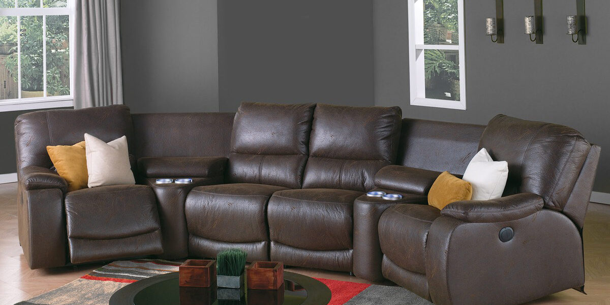 curved brown sectional in a traditional living room