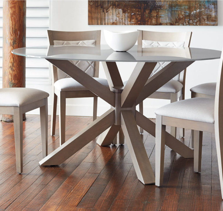 round dining room table with glass top