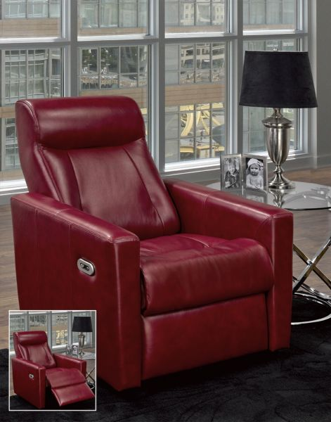 LeatherCraft Furniture: red leather recliner with power maneuverability - positioned next to metal and glass side table with kids photos and silver lamp on top