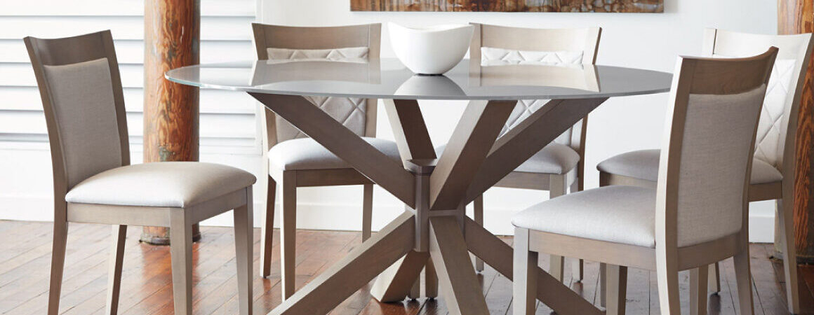 Round glass and wood dining table set from Bertanie - Canadian-made - upholstered chairs around
