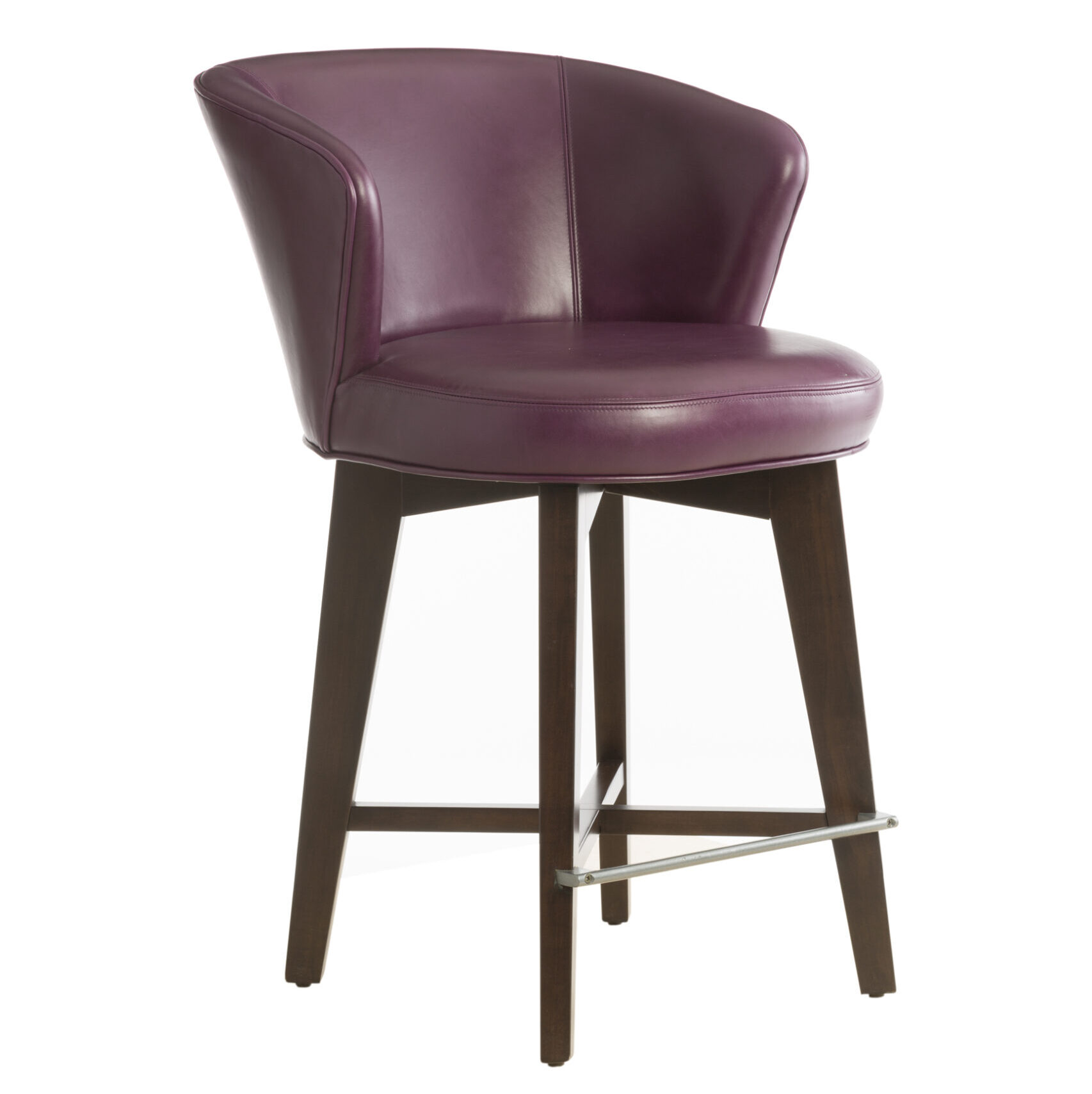 Vogel Deluxe Memory Swivel Stool - Counter height in plum leather upholstery