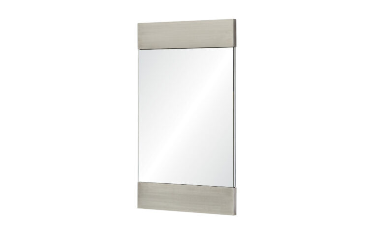 Amrah Mirror - Renwil - rectangular glass mirror with thick, brushed metal frame on top and bottom edges