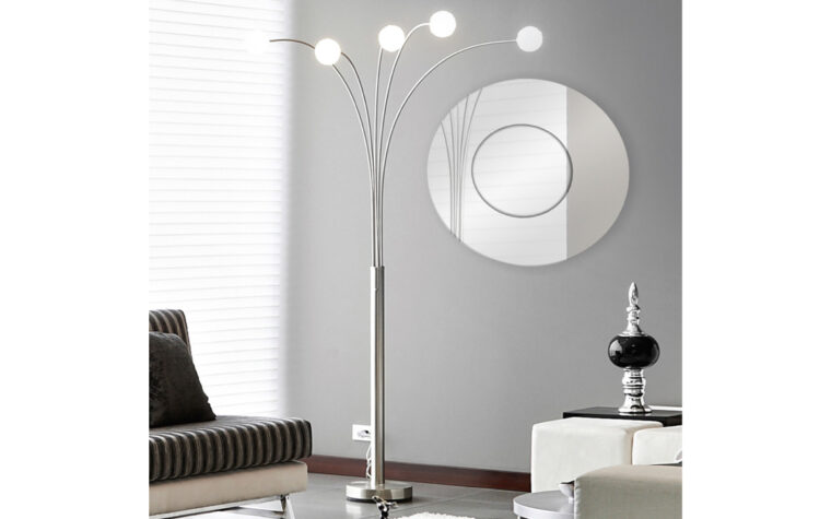 Bangkok Mirror - Renwil - large mirror with 2 silver, round layers, hung on grey painted wall in airy, modern living room
