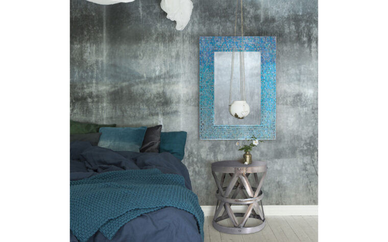 Blue Catarina Mirror - Renwil - mosaic, sea blue frame hanging on wall with grey, stone-like wallpaper in moody, modern bedroom