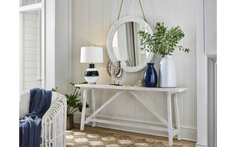Coastal Mirror - Renwil - nautical, white, round mirror hanging from chain above whitewashed sofa table in beach house