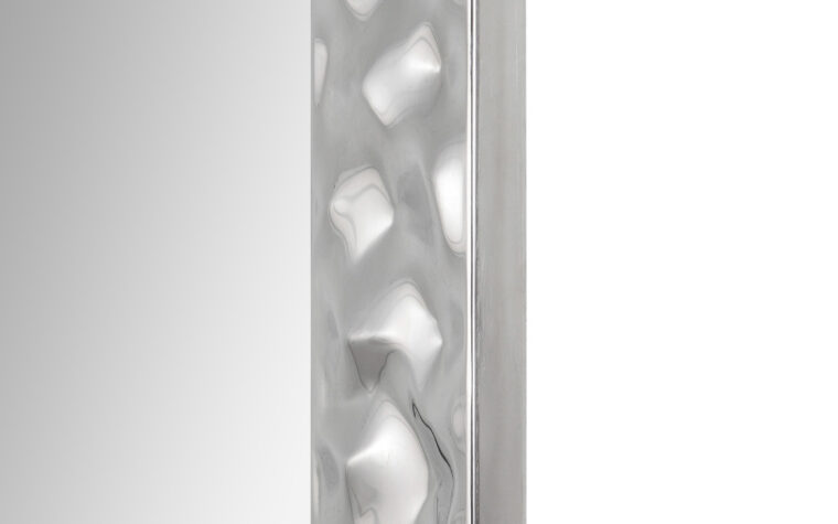 Couture Mirror - Renwil - hammered silver metal frame on rectangular mirror