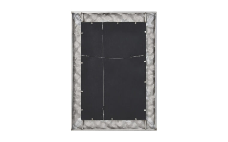 Couture Mirror - Renwil - hammered silver metal frame on rectangular mirror; back-side with picture hanging strings