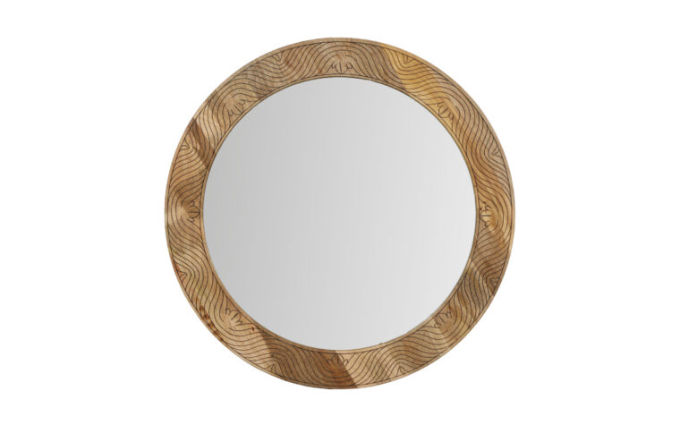 Frederick Mirror - Renwil - carved mango wood frame with natural finish surrounding round mirror