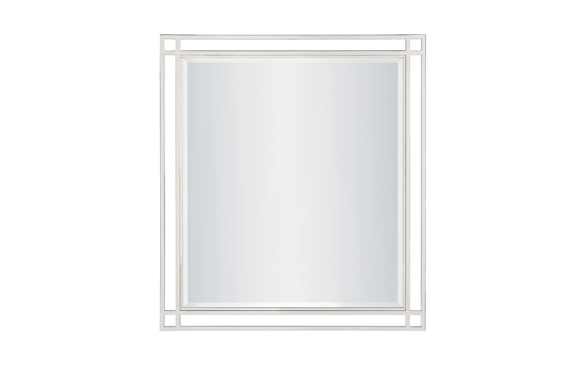 Paradox Mirror - Universal Furniture - mirror with bevelled edges surrounded by two silver metal frames for airy, modern look