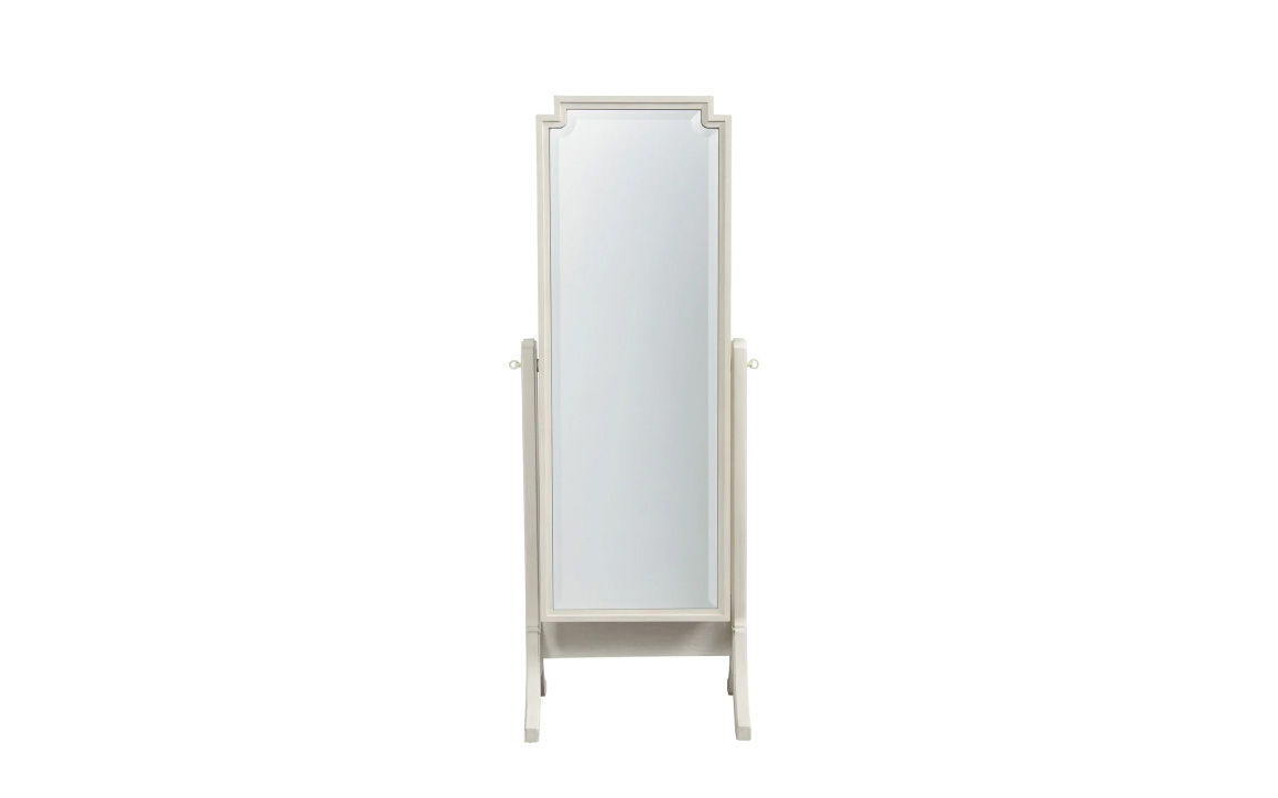 Cheval Storage Mirror - Universal Furniture - whitewashed, full length, free-standing mirror with some decorative bevelling and carving in the frame