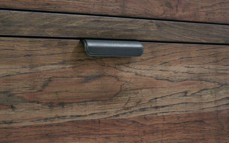 5900-6100 - Fulton County Desk - industrial kids' desk drawer close up with metal edge pull; weathered brown finish