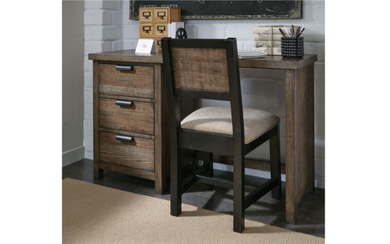 5900-6100 - Fulton County Desk - industrial kids' desk with 3 drawers (metal edge pulls) and open back; weathered brown finish; staged with matching chair in youth bedroom