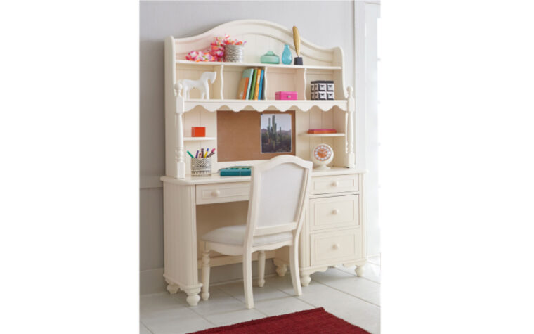 6481-6100-6200 - Summerset Desk Set - complete desk and hutch - playful, vintage/traditional ivory kid's desk set; staged with upholstered desk chair and plenty of pink and pastel coloured decor and craft supplies