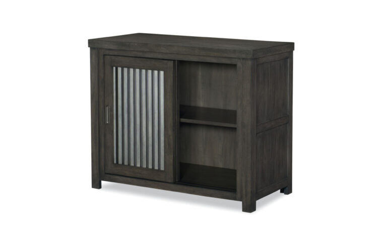 8830-2400 - Bunkhouse Sliding Door Chest - 2 corrugated metal doors sliding over unit with single removable shelf; kid's storage unit