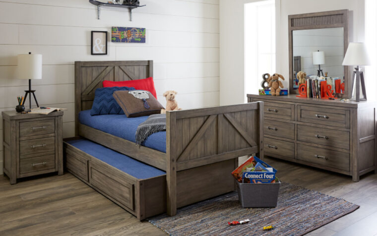 8830-8330K - Bunkhouse Loft Bed - height reduced to standard bed height and trundle bed drawer partially exposed underneath; dresser and mirror also in white room