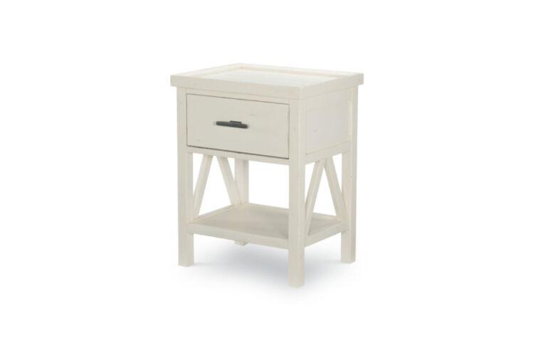 8972-3101 - Lake House Nightstand - white - single drawer, single shelf - nickel hardware