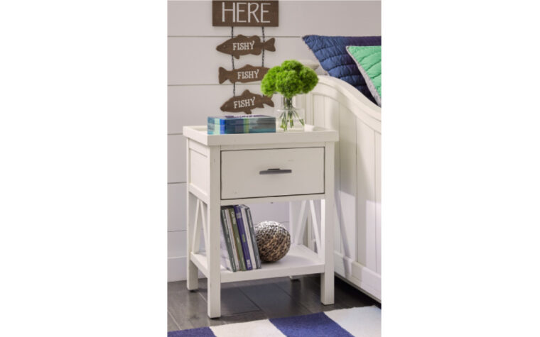 8972-3101 - Lake House Nightstand - white - single drawer, single shelf - nickel hardware; staged in child's bedroom with fishing-themed and blue and white decor