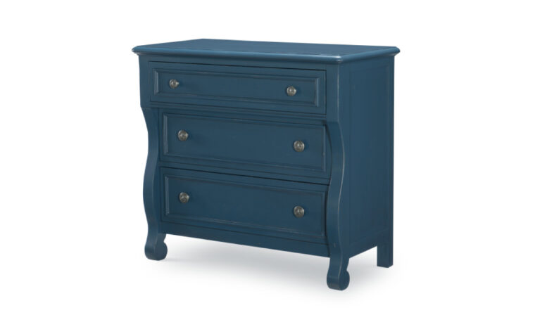 8972-2100 - Lake House Accent Chest - blue - 3 drawers with 2 knobs each - wavy design - nickel hardware