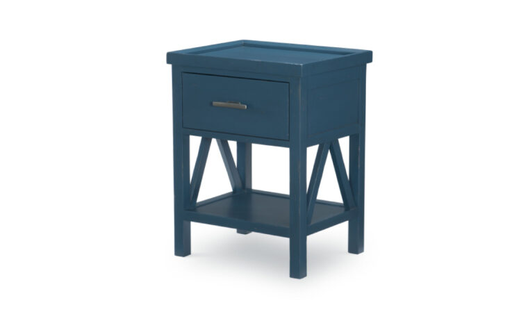 8972-3101 - Lake House Nightstand - blue - single drawer, single shelf - nickel hardware